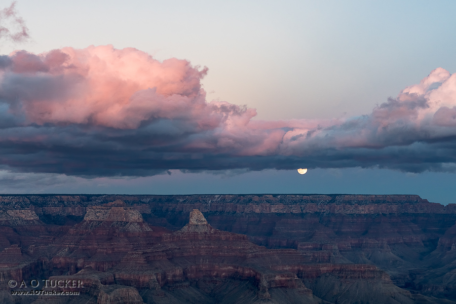 Cold Moon Rising - South Rim Grand Canyon Arizona